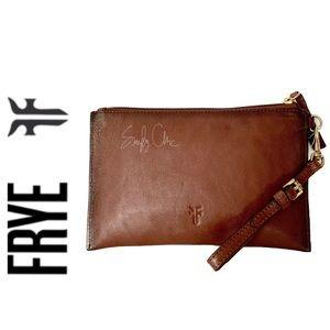 Restocked NWT FRYE genuine leather wristlet cognac